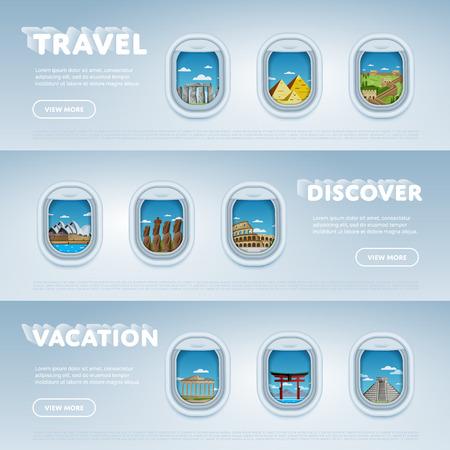 Viajar en avión. Puntos de referencia en la ventana. Viajar el mundo. El turismo y el tema de vacaciones. Moderno diseño plano. mundo lugares famosos de iconos. Viaje alrededor del mundo.