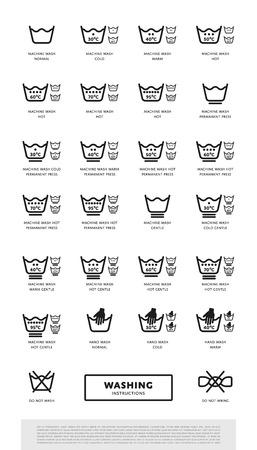 Wasserij wassen symbolen icon set, vector illustratie