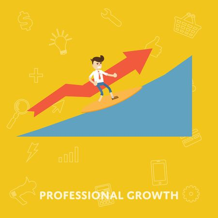 corporate ladder: Improving the corporate ladder professional growth flat abstract isolated vector illustration
