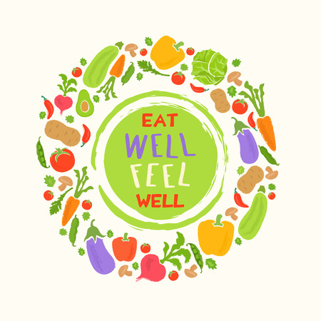 Fondo de la comida sana de las verduras frescas y fruta ilustración vectorial. elementos de menú vegetariano. concepto de la comida natural.