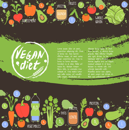 Vegan diet. Healthy food background fresh vegetable and fruit vector illustration. Vegetarian menu elements. Natural food concept. 矢量图像