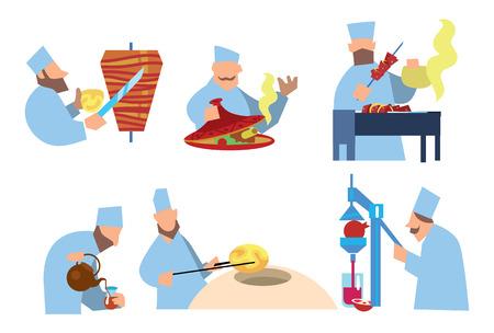 shish kebab: Arabic food. Shawarma, shish kebab, lozenges. Vector illustration. Arabian chef.