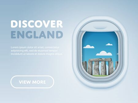 airplane window: Discover England. Traveling the world by plane. Tourism and vacation theme. Attraction of airplane window. Modern flat vector design banner.