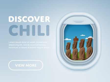 airplane window: Discover Chili. Traveling the world by plane. Tourism and vacation theme. Attraction of airplane window. Modern flat vector design banner.