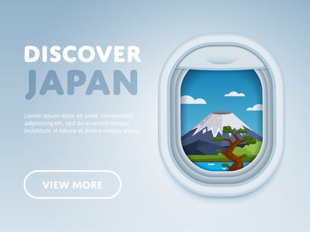 airplane window: Discover Japan. Traveling the world by plane. Tourism and vacation theme. Attraction of airplane window. Modern flat vector design banner. Illustration