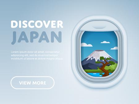 Ontdek Japan. De wereld reizen per vliegtuig. Toerisme en vakantiethema. Aantrekkelijkheid van vliegtuigvenster. Moderne platte vector ontwerpbanner.