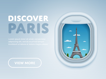 Discover Paris. Traveling the world by plane. Tourism and vacation theme. Modern flat design banner. Attraction of airplane window.