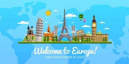 에 오신 것을 환영합니다 유럽, 여행 세계 개념, 여행 플랫 벡터 일러스트 레이 션.