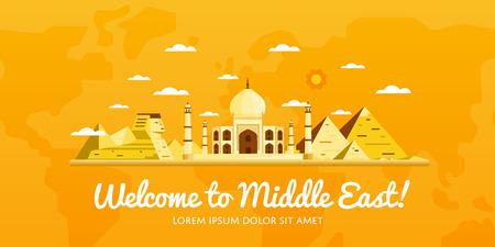 Bienvenido a Oriente Medio, viajar en el concepto del mundo, viajando ilustración vectorial plana. Foto de archivo