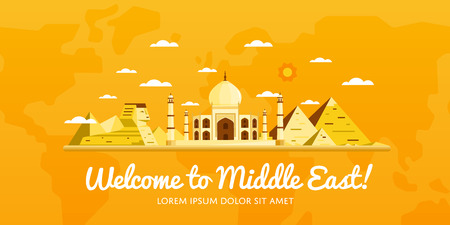 middle east: Welcome to Middle East, travel on the world concept, traveling flat vector illustration.
