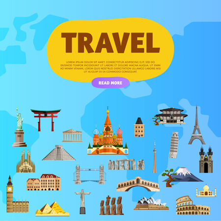 Travel the world. Monument concept. Landmarks on the globe. Tourism and vacation theme. Travelling vector illustration. Modern flat design. Famous world landmarks icons. Journey around the world. Illustration