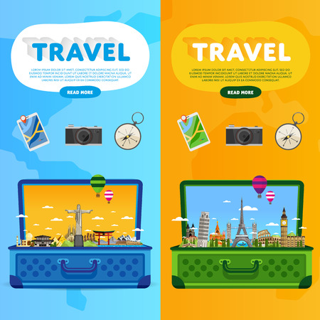 Open suitcase with landmarks. Travel the world. Monument concept. Tourism and vacation theme. Travelling vector illustration. Modern flat design. Famous world landmarks icons. Journey around the world Illustration