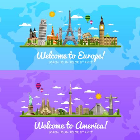 Benvenuti in Europa e in America, viaggiate sul concetto di mondo, viaggiando piatta illustrazione vettoriale. Vettoriali