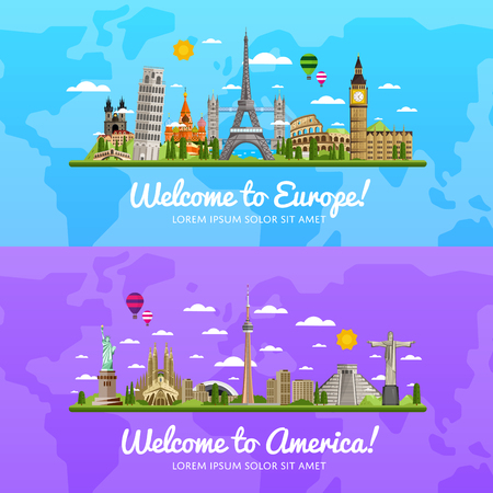 Welcome to Europe and America, travel on the world concept, traveling flat vector illustration. Векторная Иллюстрация