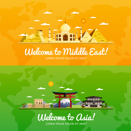 middle east: Welcome to Middle East and Asia, travel on the world concept, traveling flat vector illustration.