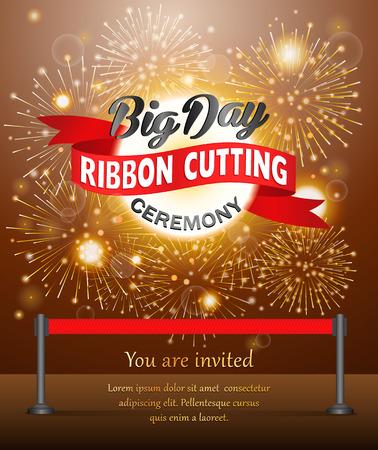Grand opening celebration banner design vector illustration