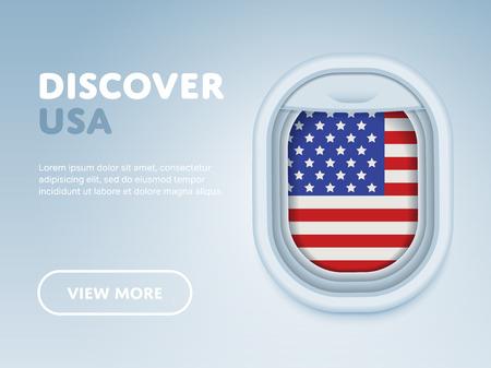 blue banner: Flight to USA traveling theme banner design for website, mobile app. Modern vector illustration.