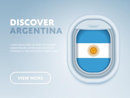 argentina flag: Flight to Argentina traveling theme banner design for website, mobile app. Modern vector illustration.