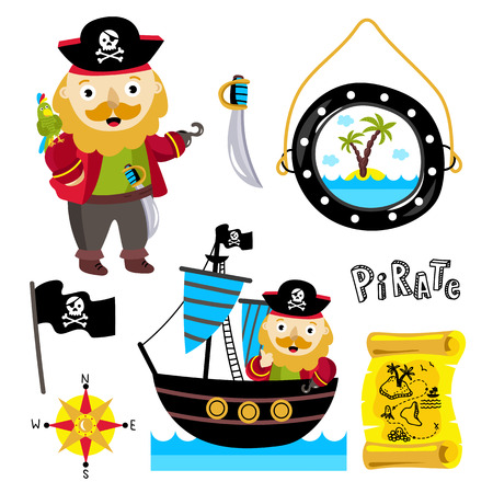 celebration cartoon: Pirate vector hat with a parrot on his shoulder. Scroll old map with the route to the treasures. Pirate flag. Jolly Roger. Set of elements for celebration. Cartoon illustration.