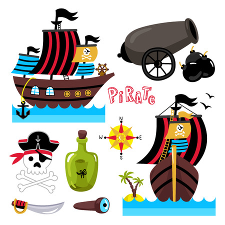 ship steering wheel: Pirate attributes vector in a cartoon style on white background for holiday or birthday Illustration