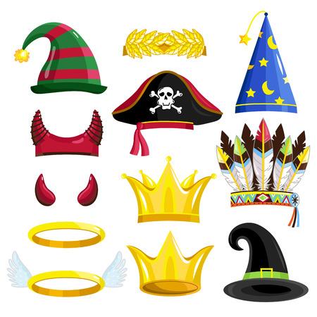 Geburtstags-Party Fotokabine Requisiten für festliche oder Maskerade. Teufel Horn, halo, Krone, Piratenhut, Krone, Magierhut, indische Federn, Hut Zauberer. Vektorgrafik