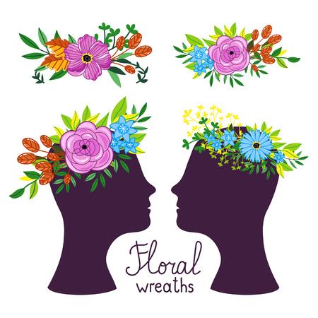 coronal: Floral wreath on the heads. Flower diadem. Vecor illustration.