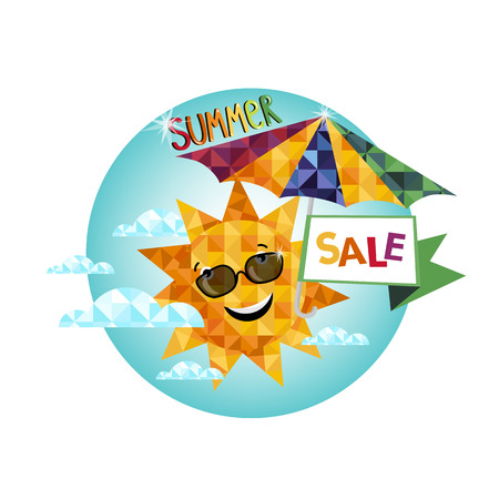 seasonal: Summer sale banner vector illustration, seasonal special offer label. Illustration
