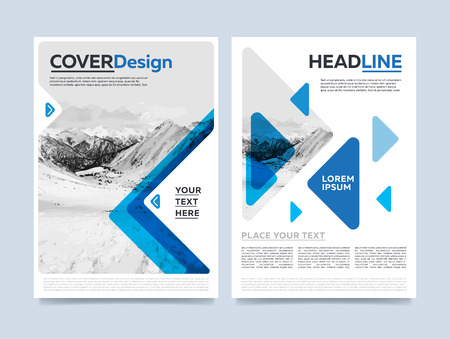 Brochure cover presentation design template vector. Blue annual report abstract flat background. Leaflet layout. Corporate document. Business booklet concept. Stock fotó - 58662388
