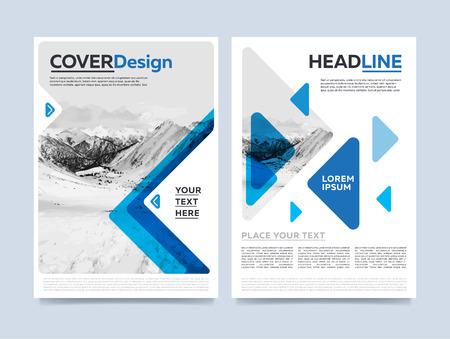Folleto de presentación de la cubierta del vector plantilla de diseño. informe anual azul de fondo plano abstracto. Folleto de diseño. documento de la empresa. concepto folleto negocio.