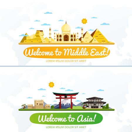Bienvenido a Oriente Medio y Asia, viajar en el concepto del mundo, viajando ilustración vectorial plana.