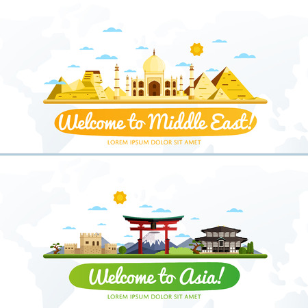 middle: Welcome to Middle East and Asia, travel on the world concept, traveling flat vector illustration.