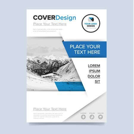 advert: Brochure cover presentation design template vector. Blue annual report abstract flat background. Leaflet layout. Corporate document. Business booklet concept.