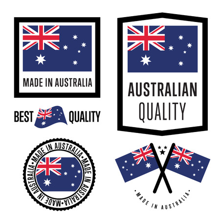 certified: Made in Australia label set. Vector Australia flag. Symbol of quality. Manufacturing by Australia. Tags and sticker collection. Vintage and modern stamp. Illustration