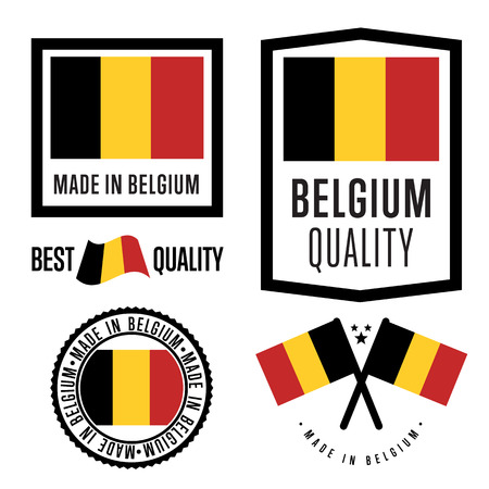 belgium: Made in Belgium label set. Vector Belgium flag. Symbol of quality. Manufacturing by Belgium. Tags and sticker collection. Vintage and modern stamp.