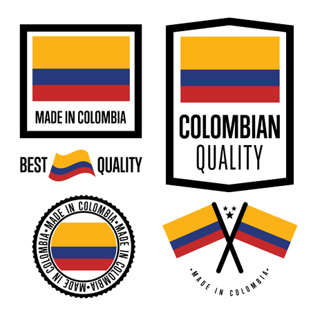 flag icons: Made in Colombia label set. Vector Colombian flag. Symbol of quality. Manufacturing by Colombia. Tags and sticker collection. Vintage and modern stamp.