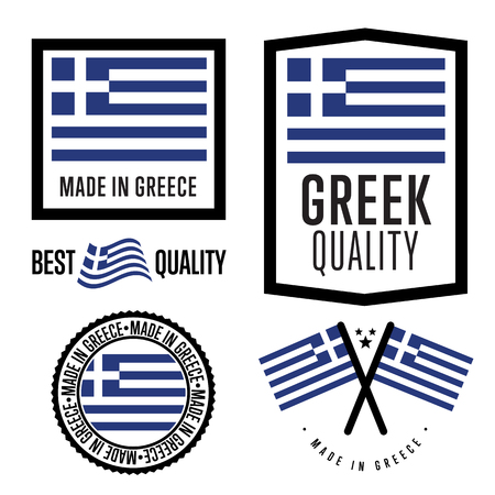 made: Made in Greece label set. Vector Greek flag. Symbol of quality. Manufacturing by Greece. Tags and sticker collection. Vintage and modern stamp.