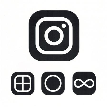 Moscú, Rusia - 14 de mayo, 2016: Nueva cámara logotipo de Instagram. Instagram - aplicación gratuita para compartir fotos y contenido multimedia de una red social. Foto de archivo - 58696117