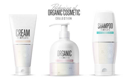 medical shower: Cosmetic brand template. Vector packaging. Body care product. Oil, lotion or soap, shampoo, cream. Realistic bottle mock up set. Isolated pack on white background.