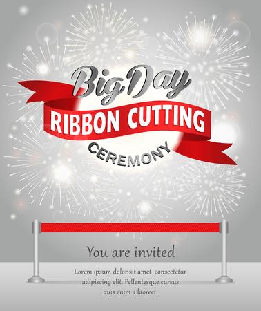 Grand opening celebration banner design vector illustration. Ribbon cutting ceremony. Illustration