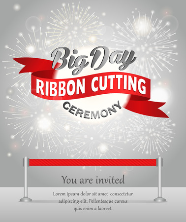 Grand opening celebration banner design vector illustration. Ribbon cutting ceremony. Vettoriali