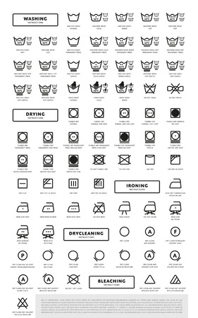 Laundry Washing Symbols Icon Set Vector Illustration