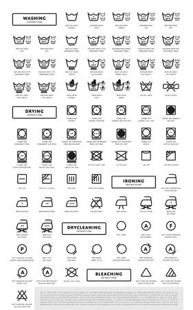 Laundry washing symbols icon set, vector illustration Vettoriali