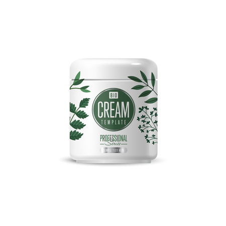 dermatologist: Organic cosmetic brand of cream vector packaging template, body care product. Realistic bottle mock up isolated on white background.
