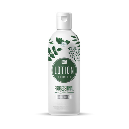 Organic cosmetic brand of lotion vector packaging template, body care product. Realistic bottle mock up isolated on white background. Illustration