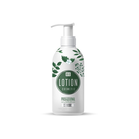 body wrap: Organic cosmetic brand of lotion vector packaging template, body care product. Realistic bottle mock up isolated on white background. Illustration