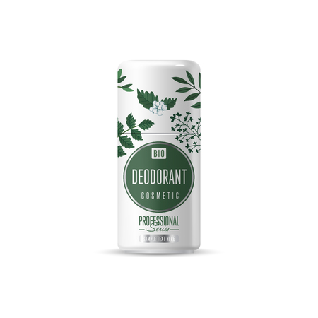 plastic wrap: Organic cosmetic brand of deodorant vector packaging template, body care product. Realistic bottle mock up isolated on white background. Illustration