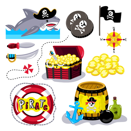 barrel bomb: Pirate attributes vector in a cartoon style on white background for holiday or birthday Illustration
