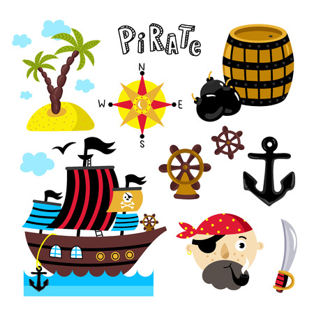 winds: Pirate attributes vector in a cartoon style on white background for holiday or birthday Illustration