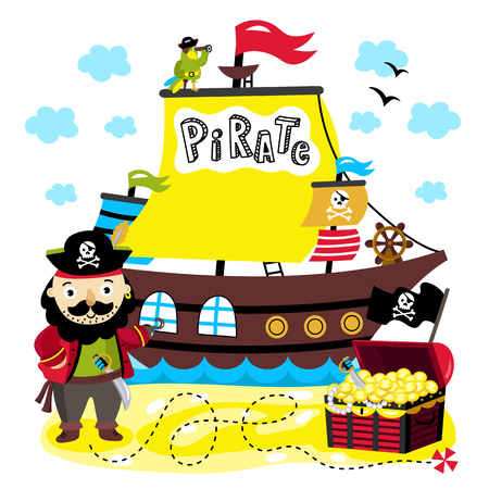schooner: One-armed pirate background on his ship with parrot and treasure chest is on the island vector illustration