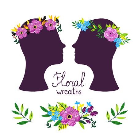 diadem: Floral wreath on the heads. Flower diadem. Vecor illustration.